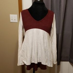 Burgandy white baby doll layered top